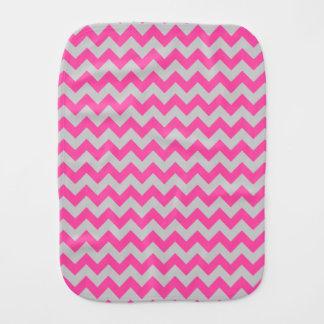 Pink Gray Zigzag Chevron Pattern Girly Baby Burp Cloths