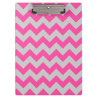 Pink Gray Zigzag Chevron Pattern Girly Clipboard