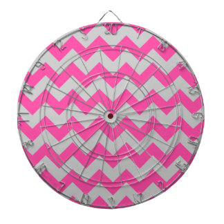 Pink Gray Zigzag Chevron Pattern Girly Dart Boards