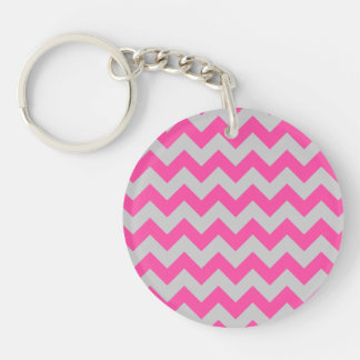 Pink Gray Zigzag Chevron Pattern Girly Double-Sided Round Acrylic Key Ring