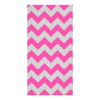 Pink Gray Zigzag Chevron Pattern Girly Personalized Photo Card