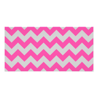 Pink Gray Zigzag Chevron Pattern Girly Photo Cards