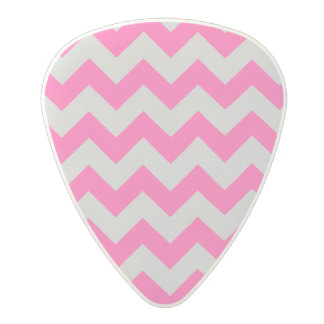Pink Gray Zigzag Chevron Pattern Girly Polycarbonate Guitar Pick