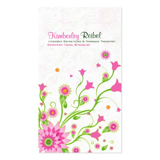 Pink & Green Abstract Floral Design-Light Business Cards