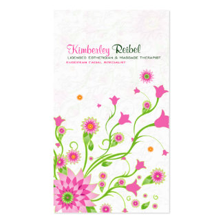 Pink & Green Abstract Floral Design-Light Pack Of Standard Business Cards