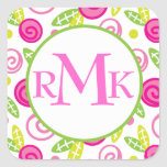 Pink & Green Abstract Flowers Monogram Stickers