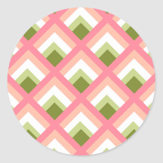 Pink Green Abstract Geometric Designs Color Round Stickers