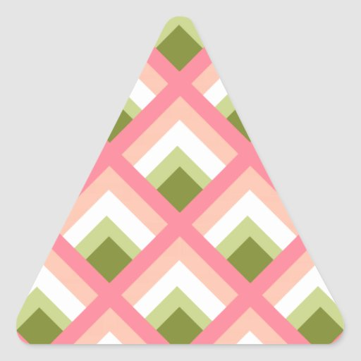 Pink Green Abstract Geometric Designs Color Triangle Stickers