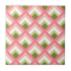Pink Green Abstract Geometric Designs Colour Tile