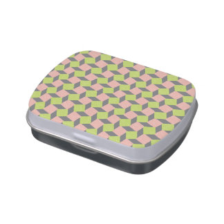 Pink Green Abstract Geometric Ikat Square Pattern Jelly Belly Tin