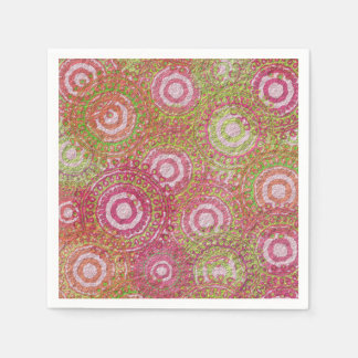 Pink green abstract retro disposable serviette
