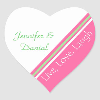 Pink, Green and White Wedding Envelope Seal Heart Sticker