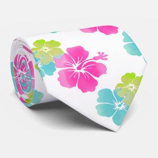 Pink/Green/Aqua Blue Hibiscus/Hawaiian Floral Tie