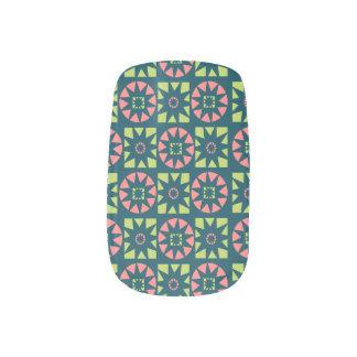 Pink Green Aztec Geometric Floral Print Minx Nail Art