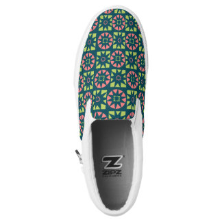 Pink Green Aztec Geometric Floral Print Slip-On Shoes