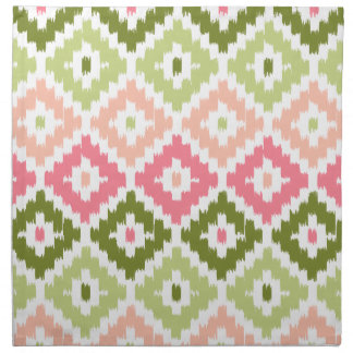 Pink Green Aztec Tribal Print Ikat Diamond Pattern Napkin