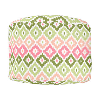 Pink Green Aztec Tribal Print Ikat Diamond Pattern Pouf