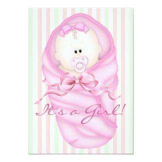 "Pink Green Baby Girl Shower Invitations 5"" X 7"" Invitation Card"