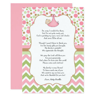 Pink Green Baby Shower Thank You Notes W/poem Card