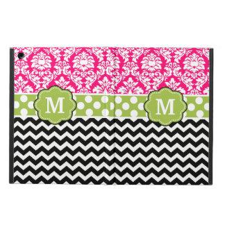Pink Green Black Damask Dots Chevron Monogram iPad Air Cover
