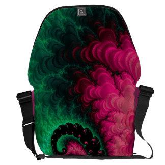 Pink Green Black Fractal Messenger Bag