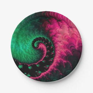 Pink Green Black Fractal Paper Plate