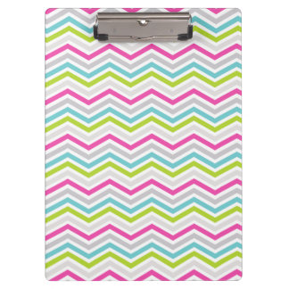 Pink, Green, Blue and White Chevron Stripes Clipboards