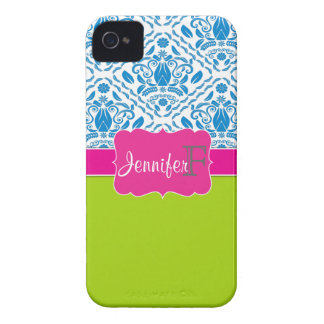 Pink, Green, Blue monogrammed damask iPhone 4/4s Case-Mate iPhone 4 Case