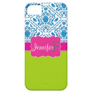 Pink, Green, Blue monogrammed damask iPhone 5 case