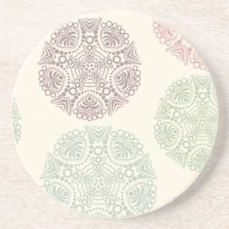 Pink green blue pastel color mandala pattern coaster