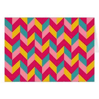 Pink Green Blue Yellow Herringbone Chevron Pattern Greeting Card
