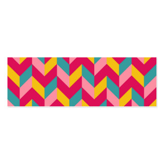 Pink Green Blue Yellow Herringbone Chevron Pattern Pack Of Skinny Business Cards