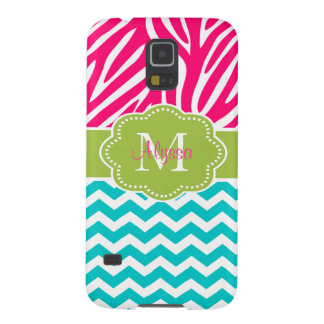 Pink Green Blue Zebra Chevron Personalized Galaxy S5 Cases