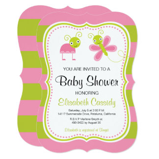 Pink Green, Bracket Lady Bug Baby Shower Invite. Card