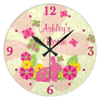 Pink Green Bunny Rabbit Butterflies Flowers Large Clock