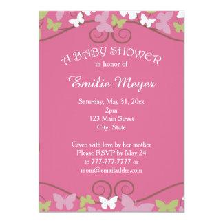 Pink Green Butterflies Baby Shower Invitation