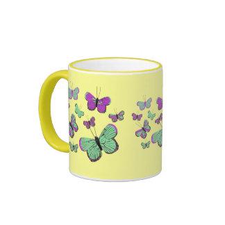 Pink Green butterflies Coffee Mugs