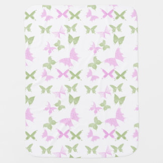 Pink Green Butterflies Girls Swaddle Blankets