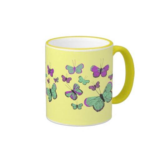 Pink & Green butterflies Coffee Mugs