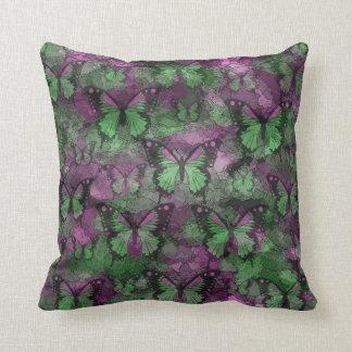 Pink Green Butterflies Throw Cushions
