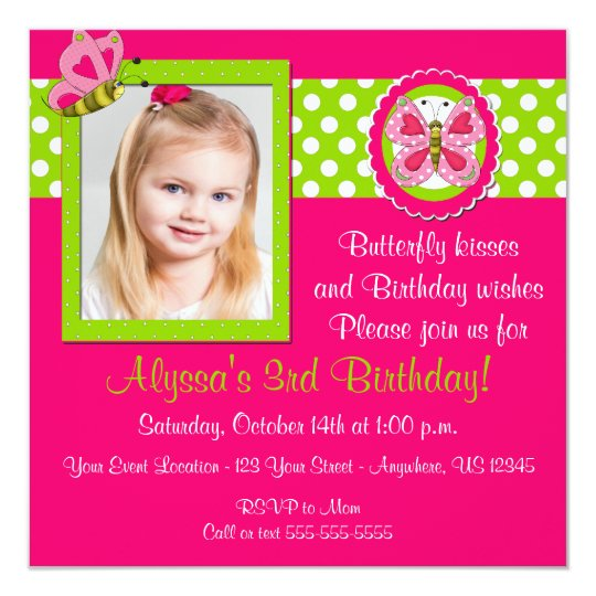 Pink Green Butterfly Birthday Invitation