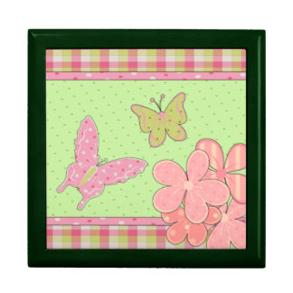 Pink & Green Butterfly Jewelry Box
