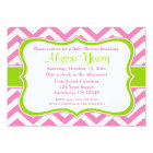 Pink Green Chevron Invitation