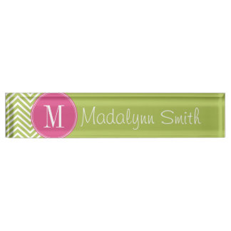 Pink & Green Chevron Pattern with Monogram Name Plate