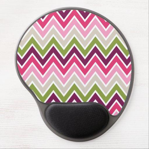 Pink & Green Chevron Stripe Gel Mouse Pad