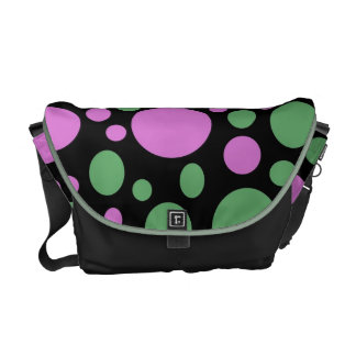 pink green circles courier bag