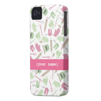 Pink & Green Cooking Theme iPhone 4 Case