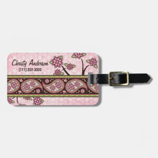 Pink Green Country Paisley Floral Personalized Luggage Tag