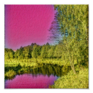 Pink Green Countryside Landscape Poster