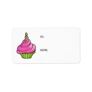 Pink & Green Cupcake Gift Tag Address Label